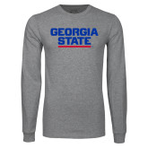 Grey Long Sleeve T Shirt-Georgia State Wordmark