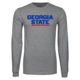 Grey Long Sleeve T Shirt-Georgia State Wordmark
