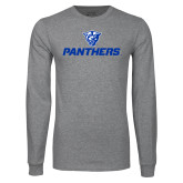 Grey Long Sleeve T Shirt-Panthers w/ Panther Head