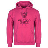 Fuchsia Fleece Hood-Official Logo Neon Pink Soft Glitter