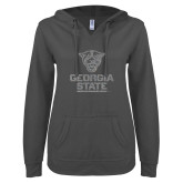 ENZA Ladies Dark Heather V Notch Raw Edge Fleece Hoodie-Official Logo Silver Soft Glitter
