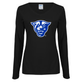 Ladies Black Long Sleeve V Neck Tee-Panther Head