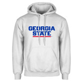 White Fleece Hood-Georgia State Wordmark