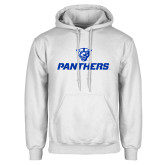 White Fleece Hoodie-Panthers w/ Panther Head
