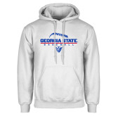 White Fleece Hoodie-Georgia State Baseball Stacked