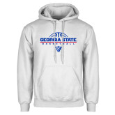 White Fleece Hoodie-Georgia State Basketball Stacked