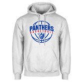 White Fleece Hoodie-Panthers Basketball Arched w/ Ball