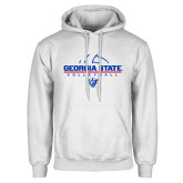 White Fleece Hoodie-Georgia State Volleyball Stacked