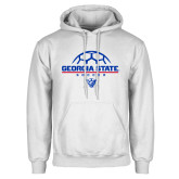 White Fleece Hoodie-Georgia State Soccer Stacked