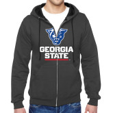 Charcoal Fleece Full Zip Hood-Official Logo