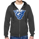 Charcoal Fleece Full Zip Hoodie-Panther Head