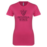 Ladies SoftStyle Junior Fitted Fuchsia Tee-Official Logo Neon Pink Soft Glitter