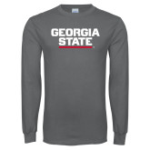 Charcoal Long Sleeve T Shirt-Georgia State Wordmark