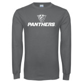 Charcoal Long Sleeve T Shirt-Panthers w/ Panther Head