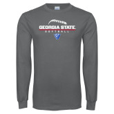 Charcoal Long Sleeve T Shirt-Georgia State Softball Stacked