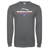 Charcoal Long Sleeve T Shirt-Georgia State Softball Stacked