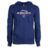 ENZA Ladies Royal Fleece Full Zip Hoodie-Georgia State Softball Stacked