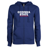 ENZA Ladies Royal Fleece Full Zip Hoodie-Georgia State Wordmark