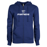ENZA Ladies Royal Fleece Full Zip Hoodie-Panthers w/ Panther Head