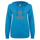 ENZA Ladies Pacific Blue V-Notch Raw Edge Fleece Hoodie-Official Logo Silver Soft Glitter