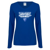 Ladies Royal Long Sleeve V Neck T Shirt-2018 Tournament Champions