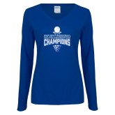 Ladies Royal Long Sleeve V Neck T Shirt-2018 Mens Sun Belt Champions