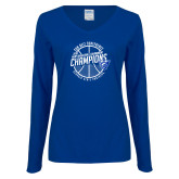 Ladies Royal Long Sleeve V Neck T Shirt-Sun Belt Mens Basketball Champions