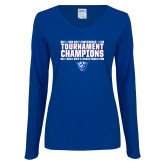 Ladies Royal Long Sleeve V Neck T Shirt-Sun Belt Mens Tournament Champions