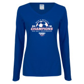 Ladies Royal Long Sleeve V Neck Tee-2018 Georgia State Mens Soccer Champions