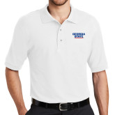 White Easycare Pique Polo-Georgia State Wordmark
