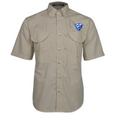 Khaki Short Sleeve Performance Fishing Shirt-Panther Head
