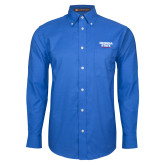 Mens Royal Oxford Long Sleeve Shirt-Georgia State Wordmark