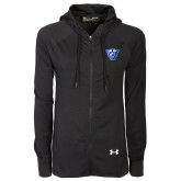 Ladies Under Armour Black Varsity Full Zip Hoodie-Panther Head