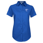 Ladies Royal Twill Button Up Short Sleeve-Panther Head