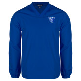 V Neck Royal Raglan Windshirt-Panther Head