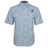 Light Blue Short Sleeve Performance Fishing Shirt-Panther Head