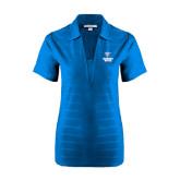 Ladies Sapphire Horizontal Textured Polo-Official Logo