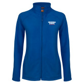 Ladies Fleece Full Zip Royal Jacket-Georgia State Wordmark