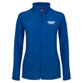 Ladies Fleece Full Zip Royal Jacket-Georgia State Wordmark