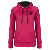 Ladies Pink Raspberry Tech Fleece Hoodie-Official Logo