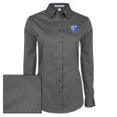 Ladies Grey Tonal Pattern Long Sleeve Shirt-Panther Head