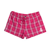 Ladies Dark Fuchsia Juniors Flannel Plaid Boxer-Official Logo