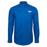 Red House French Blue Long Sleeve Shirt-Georgia State Wordmark