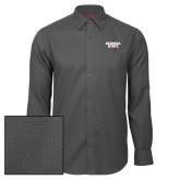 Red House Dark Charcoal Diamond Dobby Long Sleeve Shirt-Georgia State Wordmark