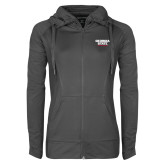 Ladies Sport Wick Stretch Full Zip Charcoal Jacket-Georgia State Wordmark