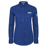 Ladies Royal Twill Button Down Long Sleeve-2018 Mens Basketball Champs