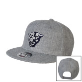 Heather Grey Wool Blend Flat Bill Snapback Hat-Panther Head
