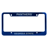 Metal Blue License Plate Frame-Panthers