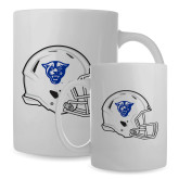 Full Color White Mug 15oz-Panther Head Football Helmet