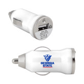 On the Go White Car Charger-Official Logo